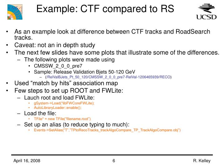 Example: CTF compared to RS