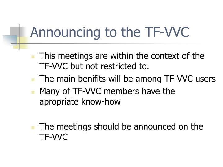 Announcing to the TF-VVC