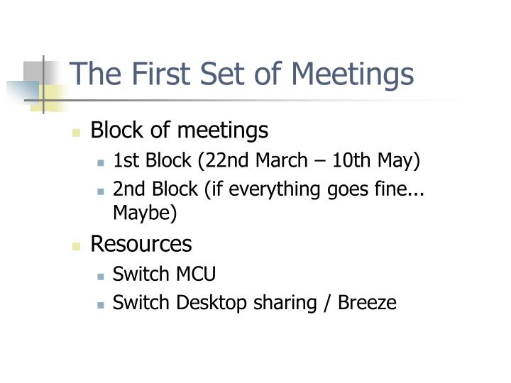 The First Set of Meetings
