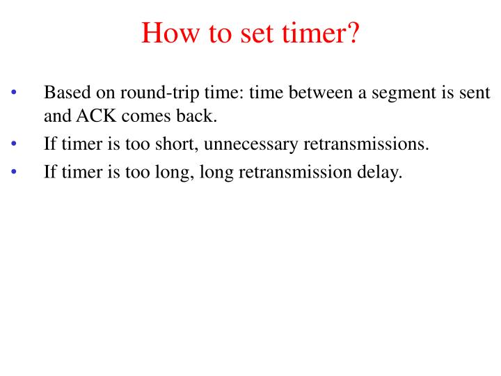How to set timer?