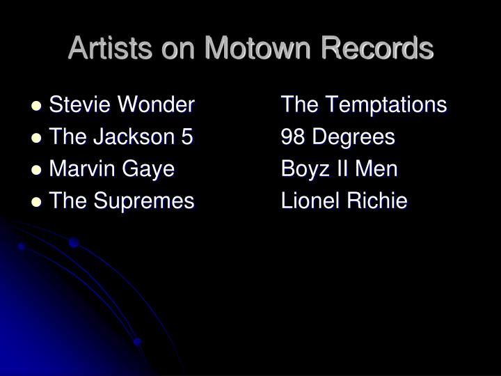 Artists on Motown Records