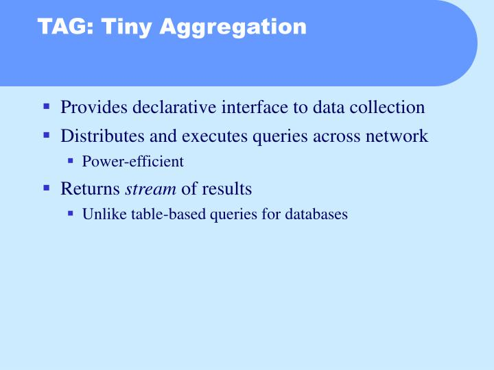 TAG: Tiny Aggregation