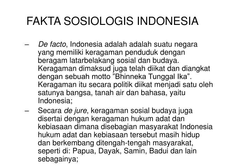 FAKTA SOSIOLOGIS INDONESIA
