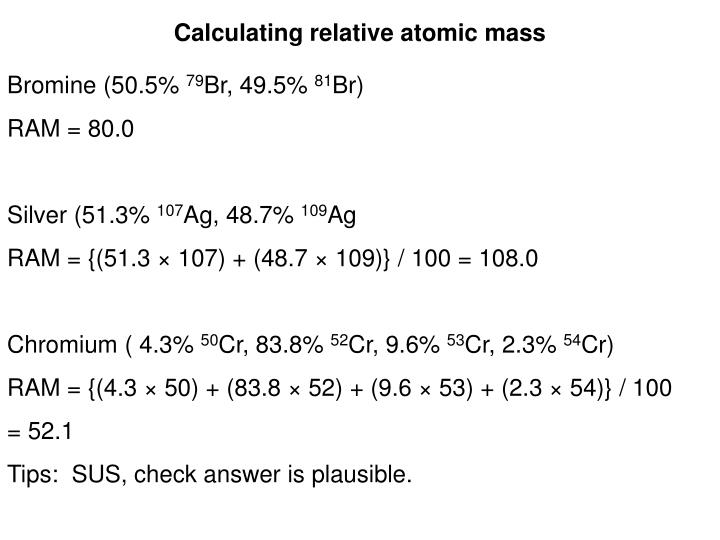 Calculating relative atomic mass