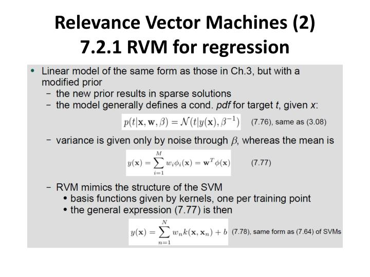 Relevance Vector Machines (2)