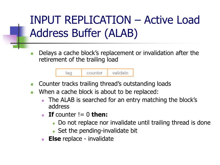 INPUT REPLICATION – Active Load Address Buffer (ALAB)