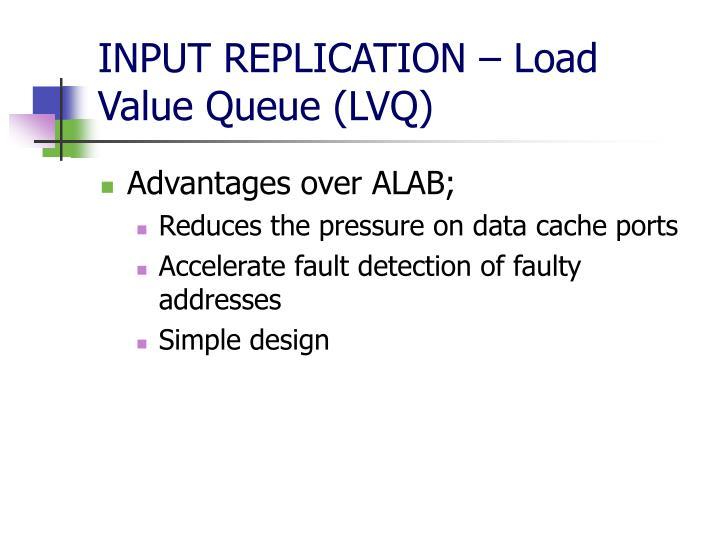 INPUT REPLICATION – Load Value Queue (LVQ)