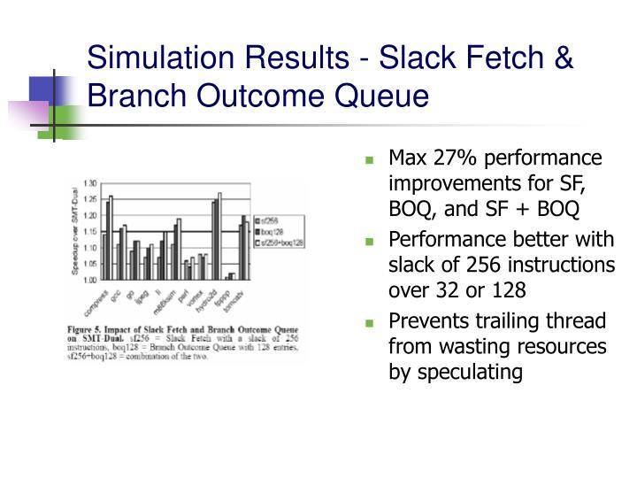 Max 27% performance improvements for SF, BOQ, and SF + BOQ