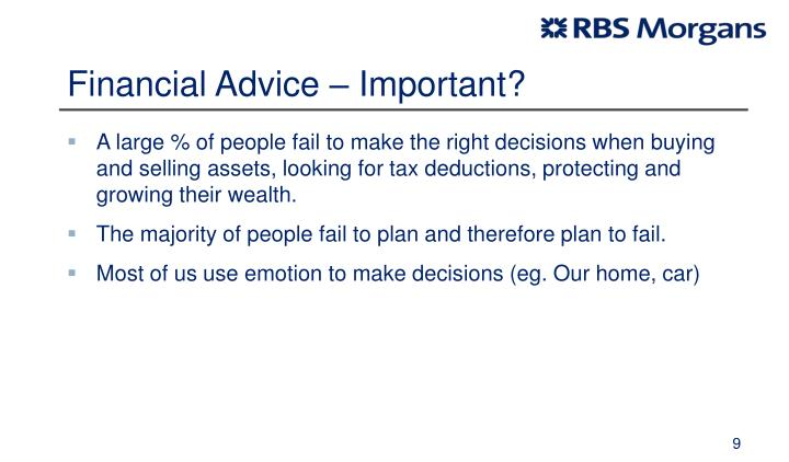 Financial Advice – Important?