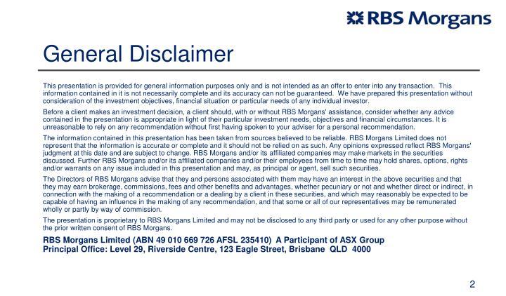 General Disclaimer