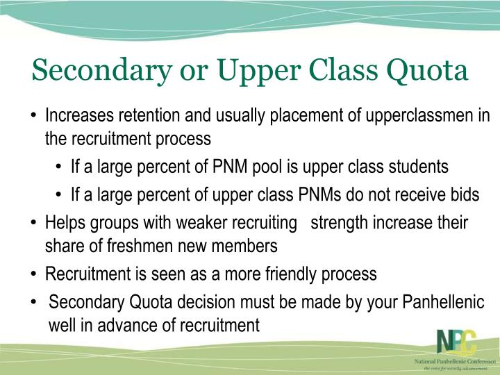 Secondary or Upper Class Quota