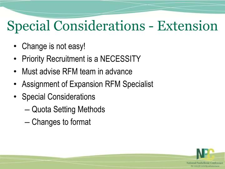 Special Considerations - Extension