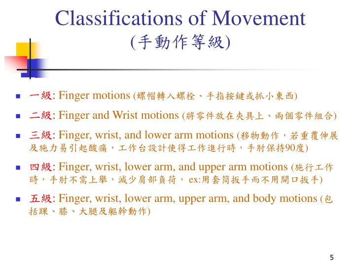 Classifications of Movement