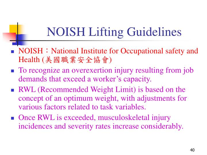 NOISH Lifting Guidelines