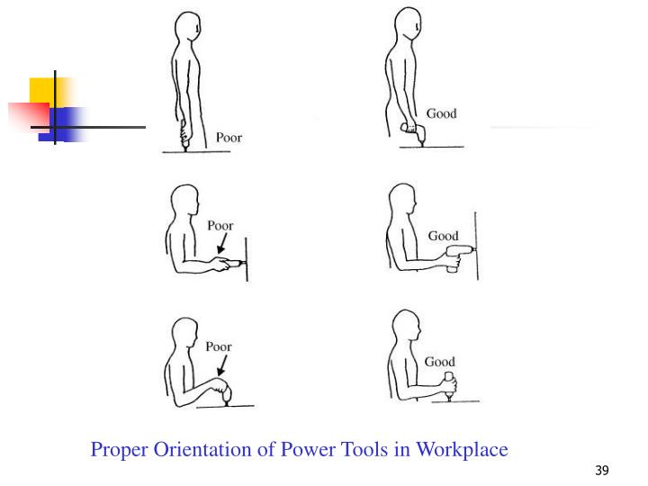 Proper Orientation of Power Tools in Workplace