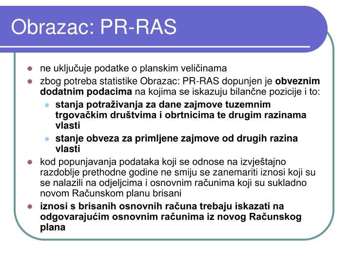 Obrazac: PR-RAS