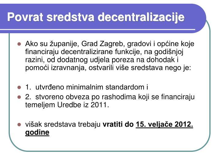 Povrat sredstva decentralizacije