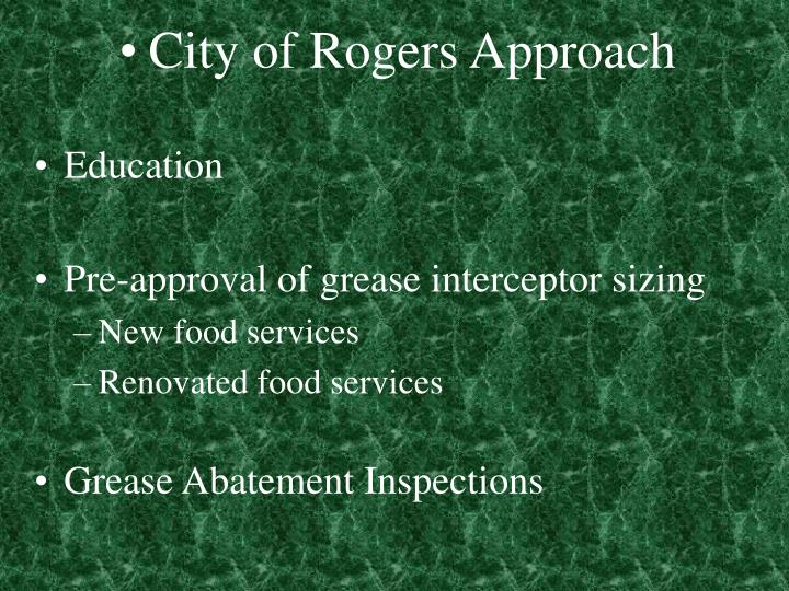 City of Rogers Approach