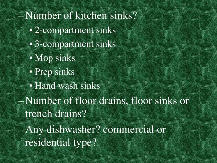 Number of kitchen sinks?