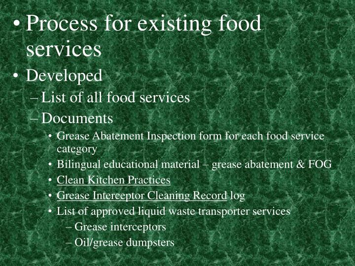 Process for existing food services