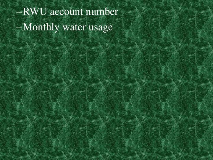 RWU account number