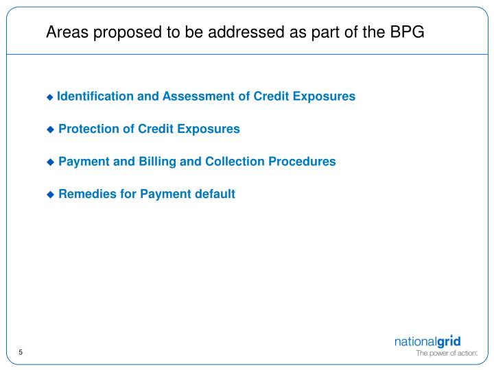 Areas proposed to be addressed as part of the BPG