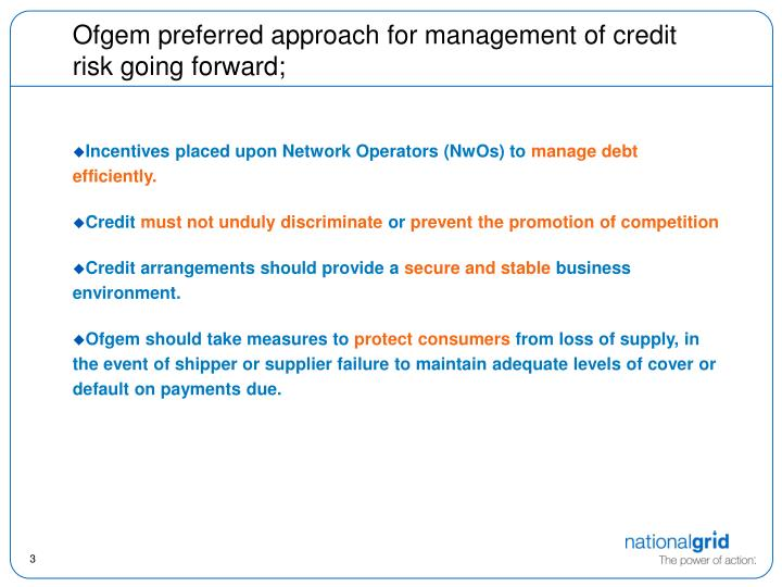 Ofgem preferred approach for management of credit risk going forward;