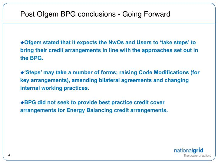 Post Ofgem BPG conclusions - Going Forward