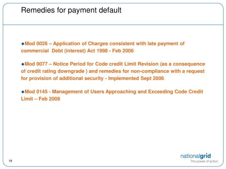 Remedies for payment default