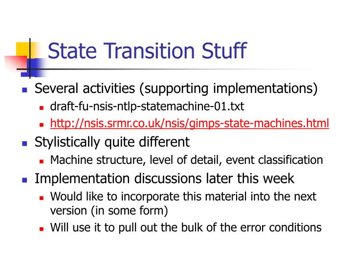 State Transition Stuff