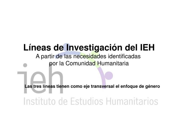 Líneas de Investigación del IEH