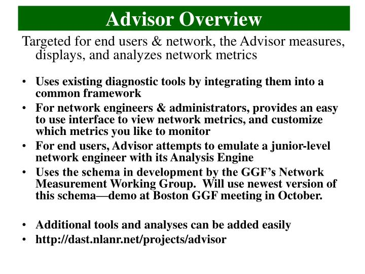 Advisor overview