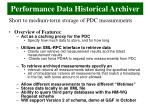 performance data historical archiver