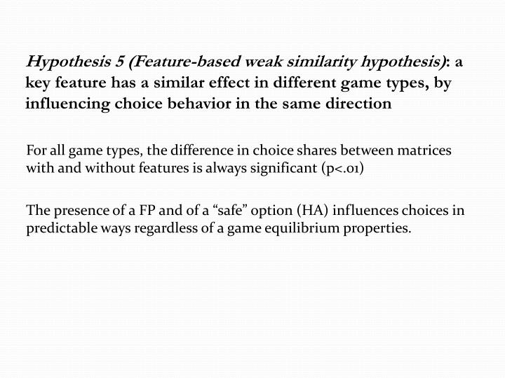 Hypothesis 5 (Feature-based weak similarity hypothesis)