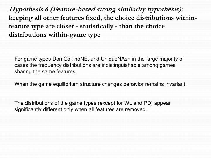 Hypothesis 6 (Feature-based strong similarity hypothesis):
