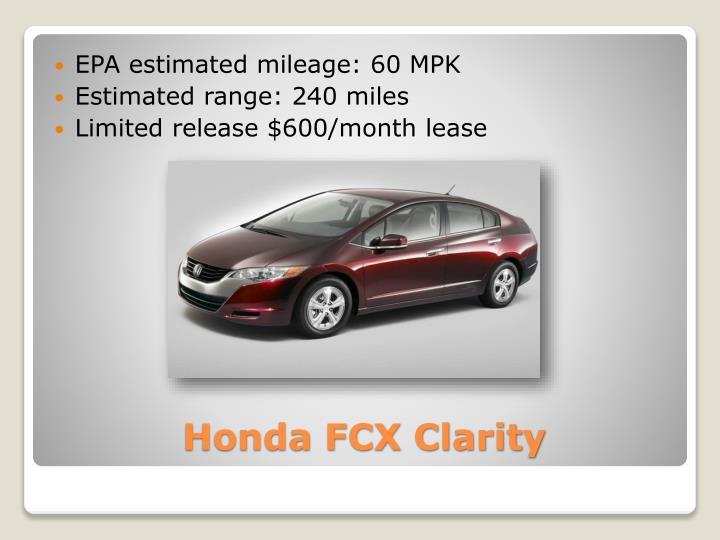 EPA estimated mileage: 60 MPK