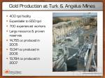 gold production at turk angelus mines