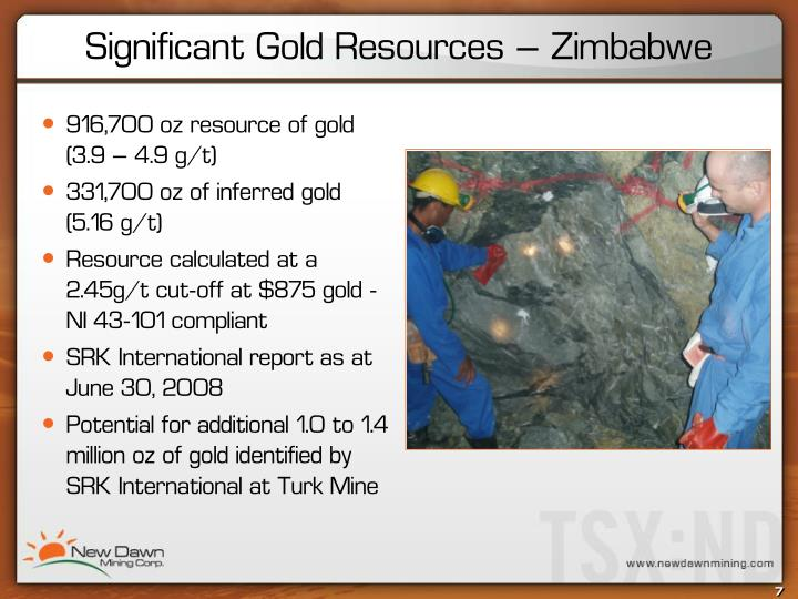916,700 oz resource of gold (3.9 – 4.9 g/t)