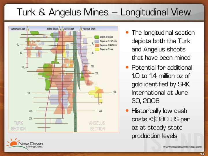 The longitudinal section depicts both the Turk and Angelus shoots that have been mined