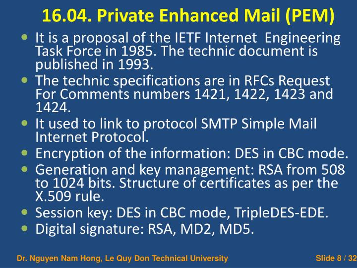 16.04. Private Enhanced Mail (PEM)