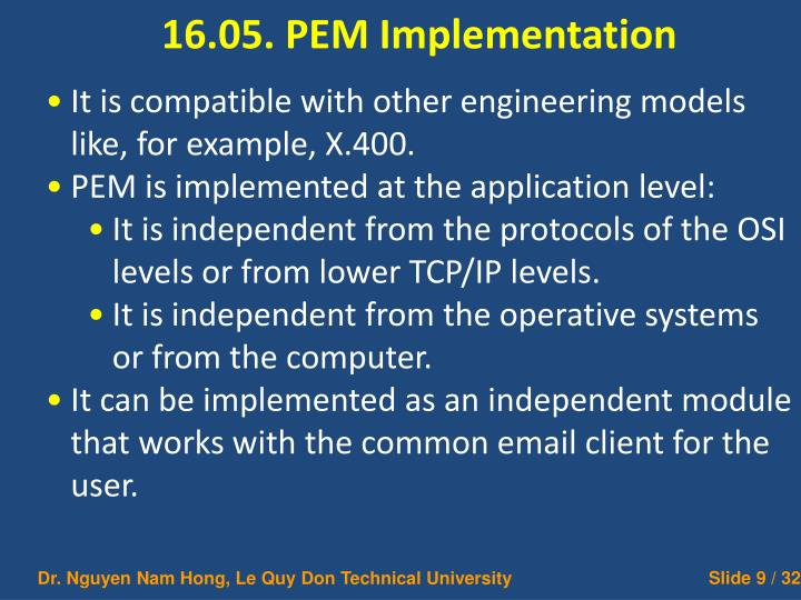 16.05. PEM Implementation