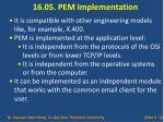 16 05 pem implementation