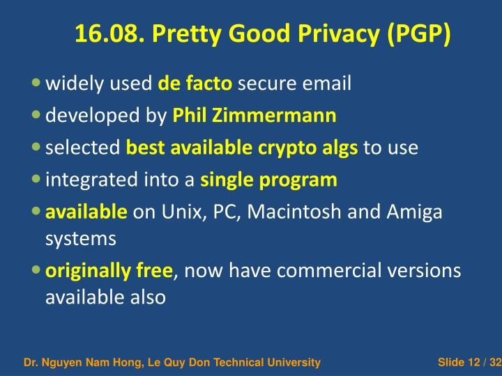 16.08. Pretty Good Privacy (PGP)