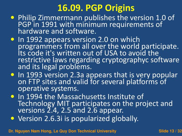 16.09. PGP Origins