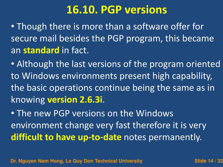 16.10. PGP versions