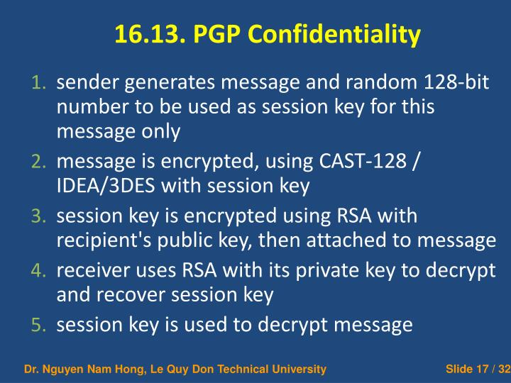 16.13. PGP Confidentiality