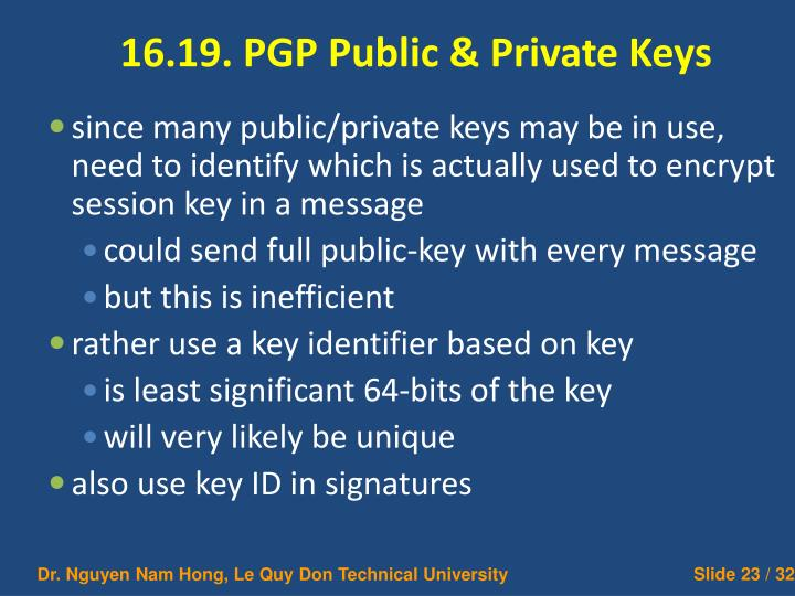 16.19. PGP Public & Private Keys