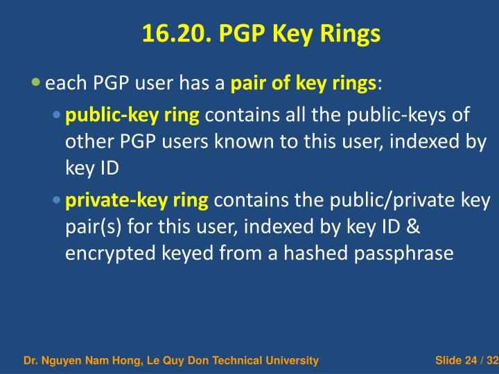 16.20. PGP Key Rings