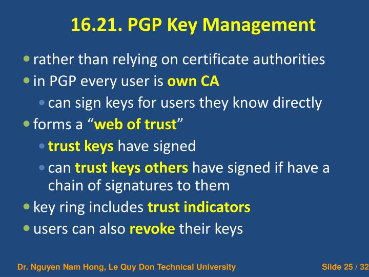 16.21. PGP Key Management