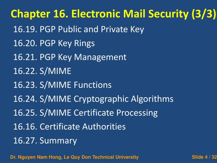 Chapter 16. Electronic Mail Security (3/3)